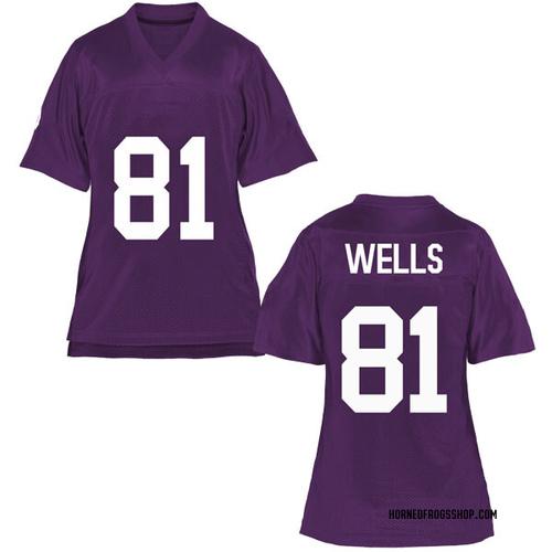 Women's Pro Wells TCU Horned Frogs Game Purple Football College Jersey