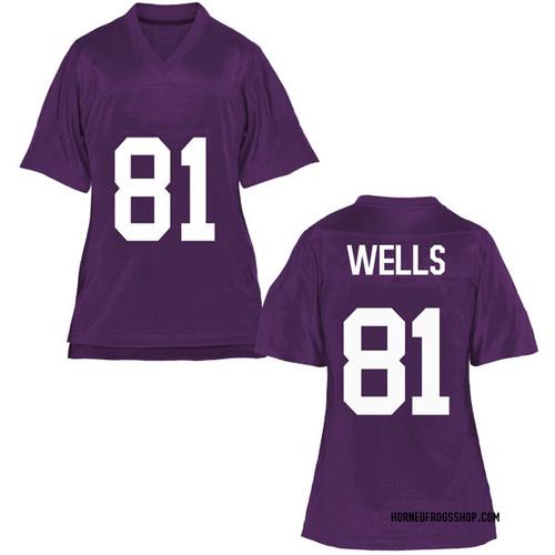 Women's Pro Wells TCU Horned Frogs Replica Purple Football College Jersey
