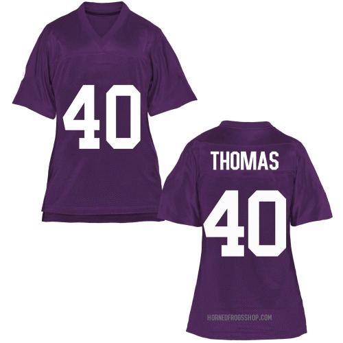 Women's Ray Thomas TCU Horned Frogs Game Purple Football College Jersey