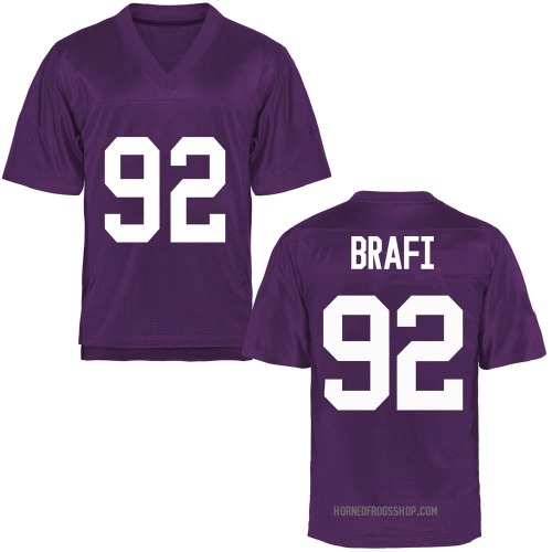 Youth Benedict Brafi TCU Horned Frogs Game Purple Football College Jersey