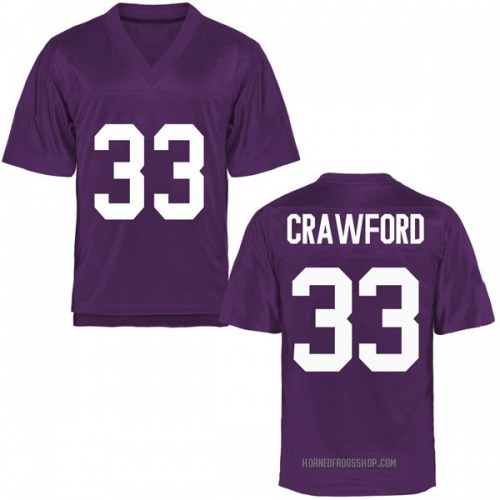 Youth Clayton Crawford TCU Horned Frogs Replica Purple Football College Jersey