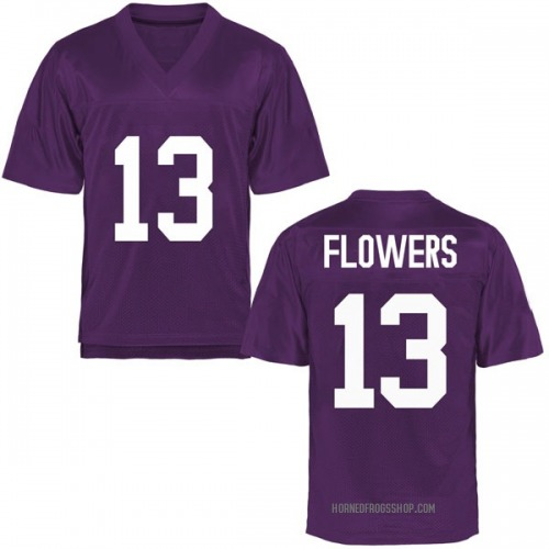Youth Darrion Flowers TCU Horned Frogs Game Purple Football College Jersey