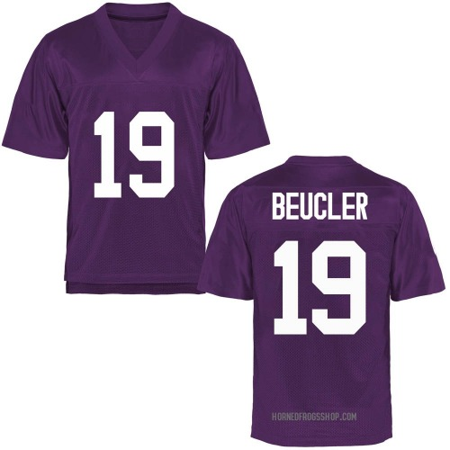 Youth Grant Beucler TCU Horned Frogs Game Purple Football College Jersey
