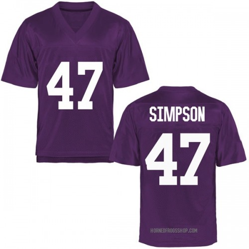 Youth Jacoby Simpson TCU Horned Frogs Replica Purple Football College Jersey