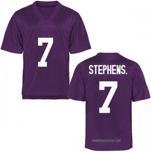 Youth John Stephens Jr. TCU Horned Frogs Game Purple Football College Jersey