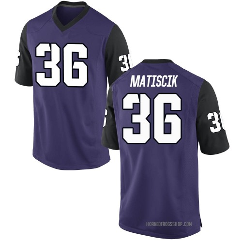 Youth Nike Brent Matiscik TCU Horned Frogs Game Purple Football College Jersey