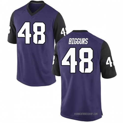 Youth Nike Caleb Biggurs TCU Horned Frogs Game Purple Football College Jersey