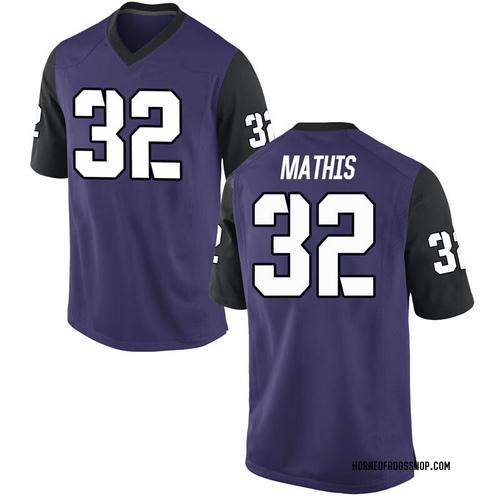 Youth Nike Ochaun Mathis TCU Horned Frogs Game Purple Football College Jersey