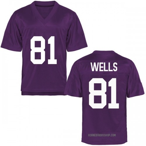 Youth Pro Wells TCU Horned Frogs Replica Purple Football College Jersey