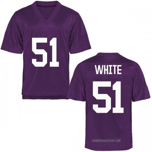 Youth Quazzel White TCU Horned Frogs Game Purple Football College Jersey