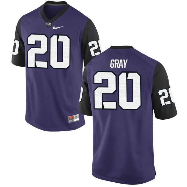 Men's Nike Deante Gray TCU Horned Frogs Authentic Purple Football Jersey